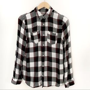 Studded Plaid Button Down long sleeve Shirt